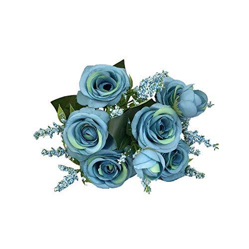 Coloré(TM) Artificielle Faux Floraison Rose Fleur Bouquet De Mariée Fête De Mariage Décor À La Maison (Bleu ciel)