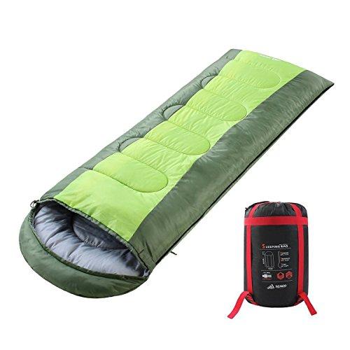 Semoo Saco de Dormir Impermeable, de 6-22ºC, 190T, Encapuchado para Adultos, con Bolsa de Compresión (Verde)
