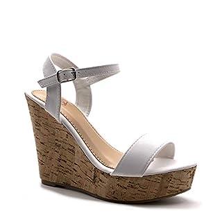 Angkorly - Damen Schuhe Sandalen Pumpe - High Heels - Folk/Ethnisch - Böhmen - String Tanga - Basic - Kork Keilabsatz high Heel 12 cm - Weiß 660-10 T 39