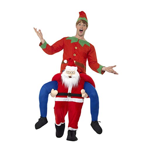 Carry Santa Me Kostüm - NET TOYS Huckepack-Kostüm Weihnachtsmann   Originelle Herren-Verkleidung Trag Mich Nikolaus   Perfekt geeignet für Mottoparty & Weihnachten