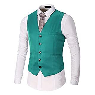 Anyu Men's Designed Top Casual Vest Coat Regular Fit Party Dress Waistcoat Green XL