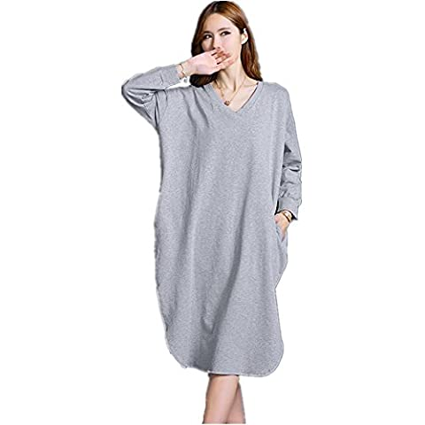 DMMSS Ladies Spring And Summer Long Long Sleeper Dress Long Sleeves Cotton V Neck Pajamas Loose Large Yards Home Service Dress , F