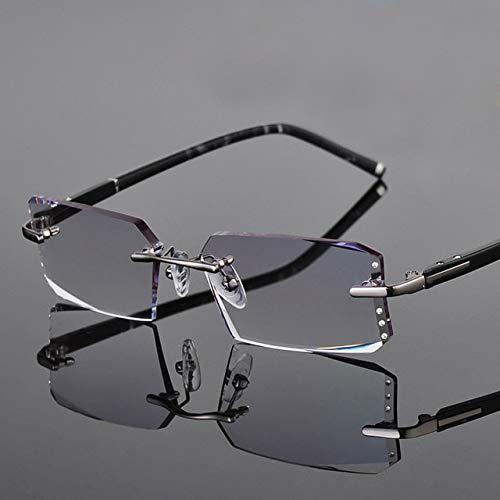 FANGUGF Flache Gläser Alloy Glasses Rahmenlose Lesebrille Für Herren Breite, Randlose Brille