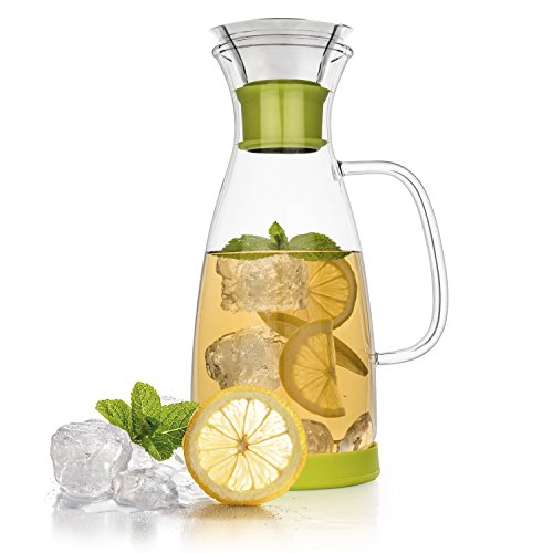 Tealyra® 40oz cristal antigoteo jarra jarra W/tapa abatible de acero inoxidable–caliente &...
