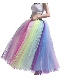 d0212d562ab40f Sunzeus Frauen Regenbogen Tutu Rock Petticoat bodenlangen Unterrock  Krinoline Slips für Leistung Bunte große Pendel Casual…