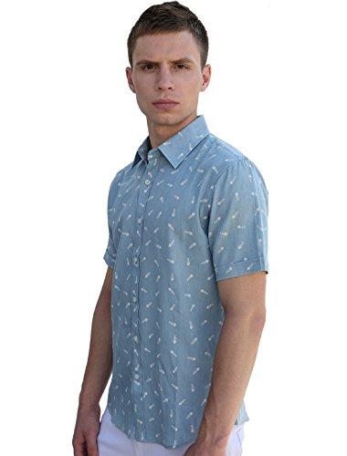 Allegra K Herren Kurzarm Knopf Geschlossen Fishbone Druckt Baumwollhemd Blau