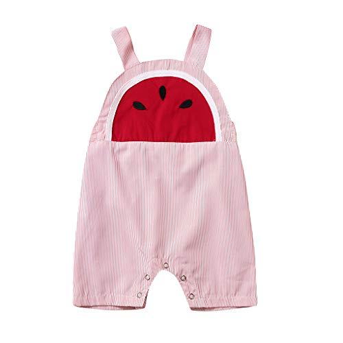 Baumwolle Gestreiften Overalls (LSAltd Mode Neugeborenen Baby Mädchen Jungen Sommer Wassermelone Print Gestreiften Komfortable Baumwolle Sling Strampler Overall)