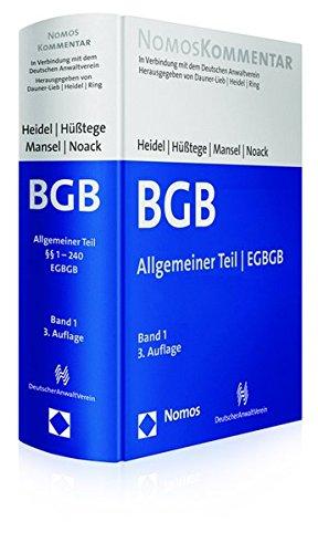 Bürgerliches Gesetzbuch: Allgemeiner Teil - EGBGB: Band 1