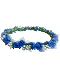Loops n Knots Blue & Silver Floral Tiara/Crown/Headband for Girls & Women - Hair Accessory for Party & Wedding