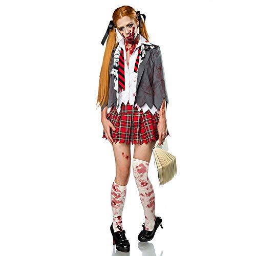 Doktor Evil Kostüm - Haodasi Damen Blutiger Zombie Schulmädchen Kostüm