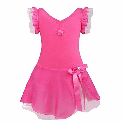 FEESHOW Maillot Ballet con tutú para Niñas Traje de Danza Vestido de Fiesta Rosa Oscuro 10-12