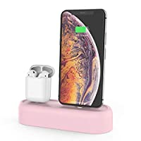 AHASTYLE 2 in 1 Charging Dock Stand Silicone Holder Station Compatible with Apple AirPods 2&1 and iPhone XS Max/XS/XR/X/8 Plus (Pink)