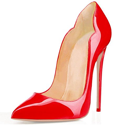 EDEFS Damenschuhe Mode High Heels Spitze Zehe Stilettos Pumps Cut Out Rot EU36 (Heels Cute)