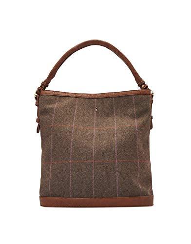 Joules Womens Chesham Tweed Shoulder Strap Tote Hand Bag Womens Brown Tweed