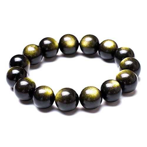 Mecool Golden Sheen Obsidian Stretch-Armband Runde Gold Stretch Obsidian Armbänder 12mm Perlen
