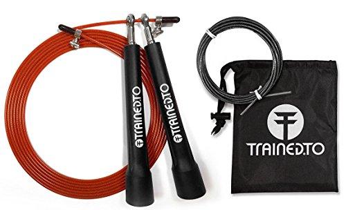 Ultraschnelles Springseil mit Gratis-Ersatzkabel – LEBENSLANGE GARANTIE – Länge einstellbar für alle Größen – Ideal für CrossFit-Training und Boxen