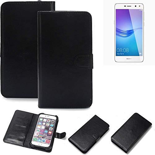 K-S-Trade Wallet Case Handyhülle für Huawei Y6 (2017) Single SIM Schutz Hülle Smartphone Flip Cover Flipstyle Tasche Schutzhülle Flipcover Slim Bumper schwarz, 1x
