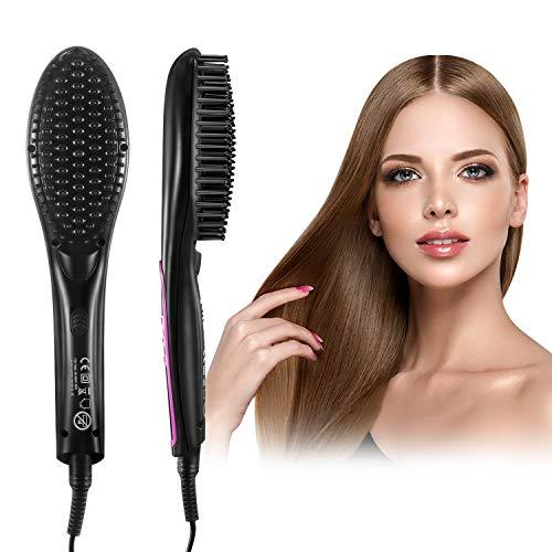 Keramische Heizung Haarbürste HOCOSY, Ionischer Glättbürste für Frauen und Männer, artglätter Männer Schnelle Bartglätter KammIonen-Technologie,und LCD Anzeige