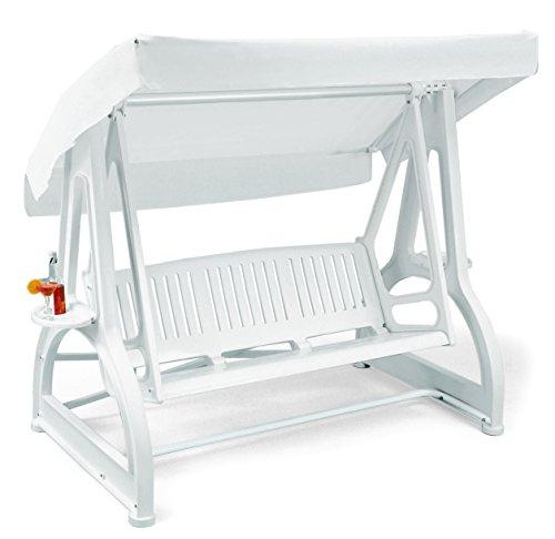 ARREDinITALY - Hollywoodschaukel 3-Sitzer aus Technopolymer und Beistellbett weiß - 100{452a489a2c3c539ecfe5431240d1cd7cb2bb745d5ca88ba4eea7fe2c745d5be5} Made in Italy