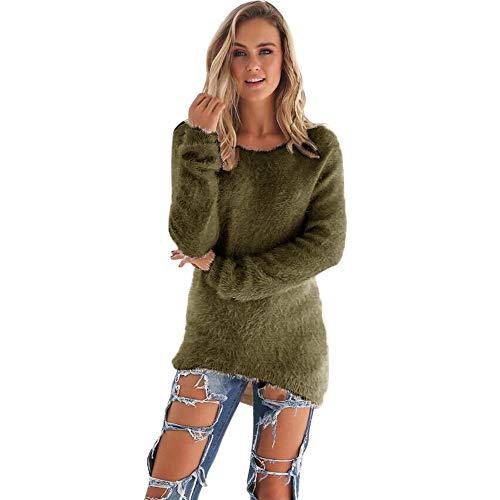 Pull Femme Hiver Pas Cher A La Mode Chaud Tunique LâChe Solide Tops Chemisier Pin Up Couleur Unie À Manches Longue Peluche Sweater (XL, Armée Vert)