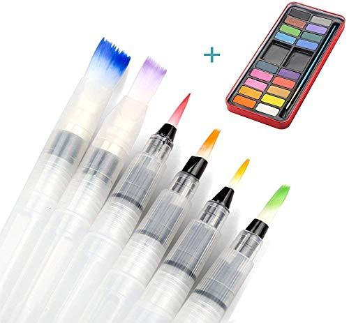 Tatuer Pennello e Colori 6 Pezzi Acqua Pennello Acquerello - Pennelli da Pittura + 18 Colori Acquerelli Scatola per Pittura,Creativi,Calligrafia