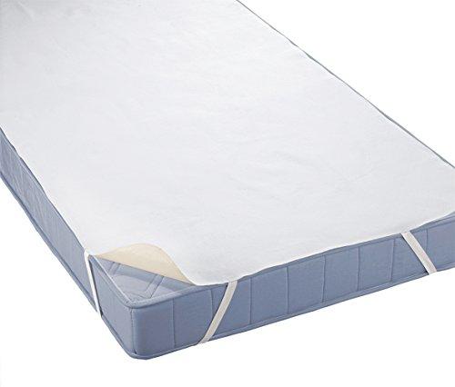 biberna 808325 wasserundurchlässige Molton Matratzenauflage mit atmungsaktiver PU-Beschichtung, nach Öko-Tex Standard 100, circa 60 x 120 cm bis 70 x 140 cm, weiß