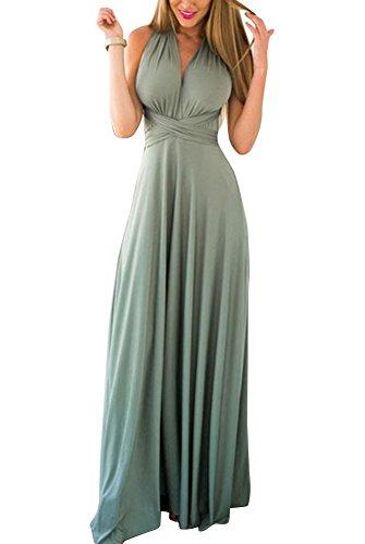 Donna Vintage Senza Maniche Vestiti Da Sera Eleganti Vestito Da Sera Lungo Abiti Da Cocktail Grigio Verde