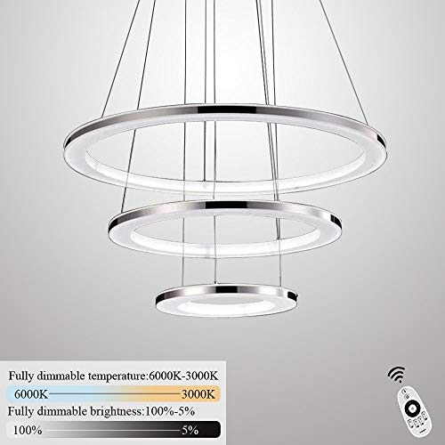 ZMH Moderne LED Pendelleuchte esstisch 70W Led 3-Ring led dimmbar Fernbedienung Hängeleuchte Wohnzimmer Deckenleuchte Schlafzimmer Höhenverstehbar Hängelampe Kronleuchter (30+50+70CM-3Ring) - 3-licht-moderne Pendelleuchte