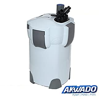AKWADO Aquarium Außenfilter 2000l/h 3-Stufen mit Filtermaterial