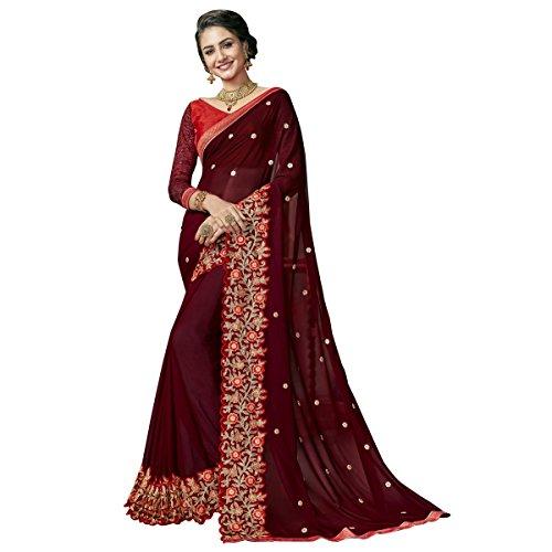 Triveni Sarees Georgette Artsilk Festival Wear Embroidered Traditional Sarees (maroon)