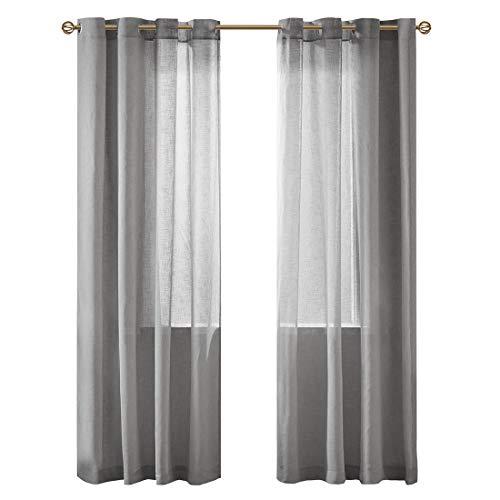 Gardinen Schals in Leinen-Optik Leinenstruktur Vorhänge Schlafzimmer Halbtransparent Vorhang für Kleine Fenster Solid Sheer Grau, kurz (2er-Set, je 175x140cm)