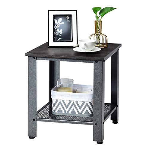 COSTWAY Beistelltisch 2 Ebenen, Sofatisch mit Metallgestell, Kaffeetisch für Wohnzimmer Balkon Flur, Telefontisch im Industriedesign, Nachttisch fürs Bett (Dunkelbraun und grau)