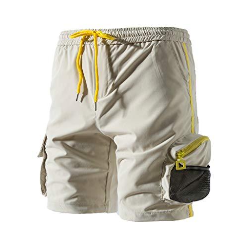 Pantaloni Corti Uomo Sportivi Estate Shorts Uomo Sportivi Cotone Estivo Uomo Lavoro Short Pantaloni Corti Bermuda/Calzoncini Leggero di Ottima vestibilità Allenamento e Sport, Corsa (L, Beige)