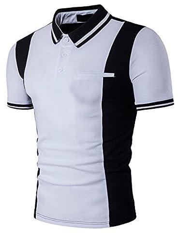 Whatlees Summer Mens Urban Casual Basic Short Sleeve Golf Polo Shirts B536-White-XL