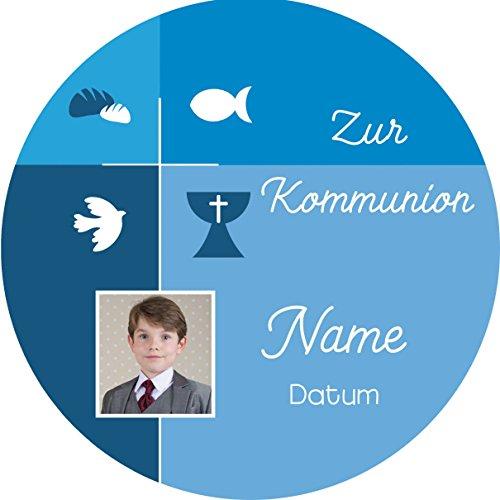 Tortenaufleger Kommunion3 blau mit Wunschtext/20 cm Ø