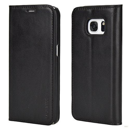 Mulbess Samsung Galaxy S7 Hülle, Leder Flip Tasche mit Wallet Case für Samsung Galaxy S7 Handy Tasche Cover Etui, Schwarz