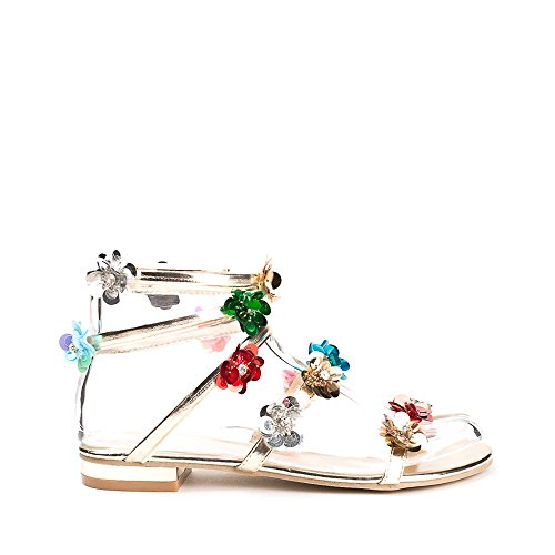 Ideal Shoes Sandales Style Spartiate Décorées de Fleurs Laeticia Doree