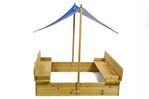 Sandkasten mit Deckel, Sitzbank und Sonnensegel / Dach Spielhaus Sandbox Holz