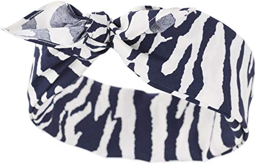 Küstenluder Damen Haarband Nydia Zebra Bandana Dunkelblau/Weißes Zebramuster 53cm x 53cm (Pin-up Bandana)
