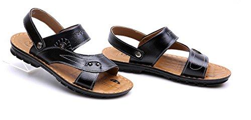 LOBTY Herren Sandalen Zehentrenner Bio Clogs Pantoletten Slipper Zehentrenner Flats Sommer Schuhe Gr.38-44 Schwarz