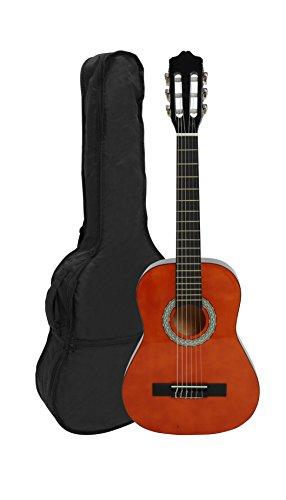 NAVARRA Konzertgitarre 1/2 honey mit schwarzen Randeinlagen und leicht gepolsterter Tasche mit Rucksackriemen und Notenfach, 2 Plektren