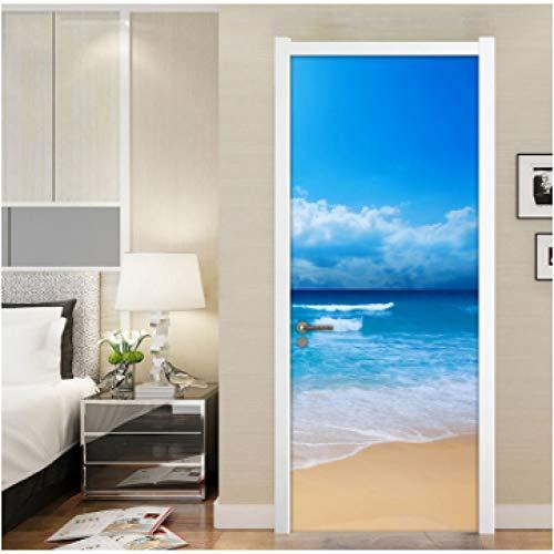 YOYODECOR Door Posters Sandy Beach Seascape 3D PVC wasserdichte Badezimmertür Aufkleber Tapeten Wohnkultur Wohnzimmer Schlafzimmer Selbstklebende Tür Wandbild (Beach Wood Flooring)