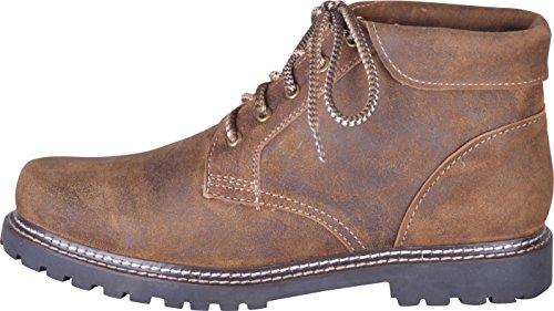 Almwerk Herren Trachten Bergschuh Wanderschuh Z101 in verschiedenen Farben, Schuhgröße:EU 45 - US 11.5 - Fußlänge 28.9 cm;Farbe:Hellbraun