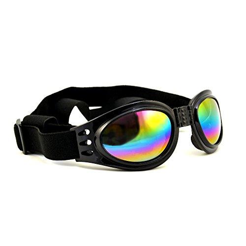 4yourpet 3766 Sonnenbrille aus Kunststoff für Hunde, Gläser regenbogen verspiegelt (Schwarz)