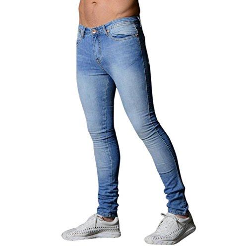 Yogogo Herren Motorradfahrer Leggings Hose Jeans   Trainingshose Hosen   Patchwork Leggings   Sport Fitness Workout Leggins   Elastische Dünne Hosen Jogginghose Sporthose Röhrenjeans (S, Hellblau)