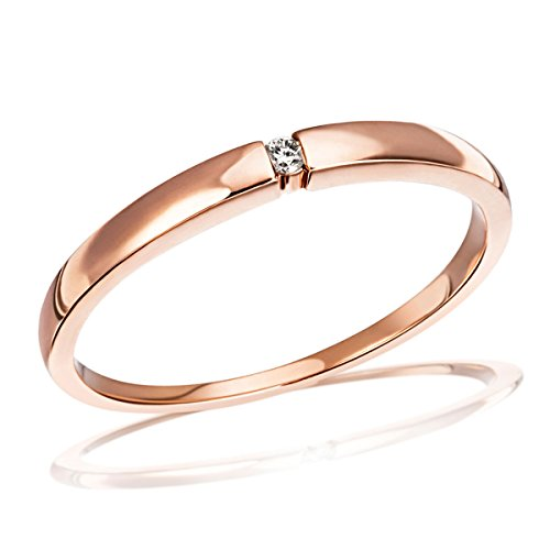 Goldmaid Damen-Ring Solitär Spannfassung (Rote Diamant-ring Weiss-gold)