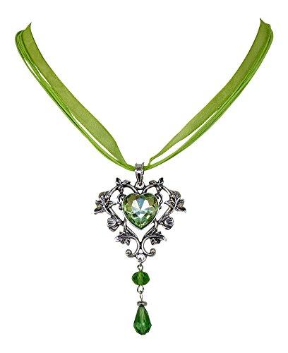 Trachtenkette Kristall Herz - Trachtenschmuck im floralen Design - Dirndl Collier (Grün / Peridot) -