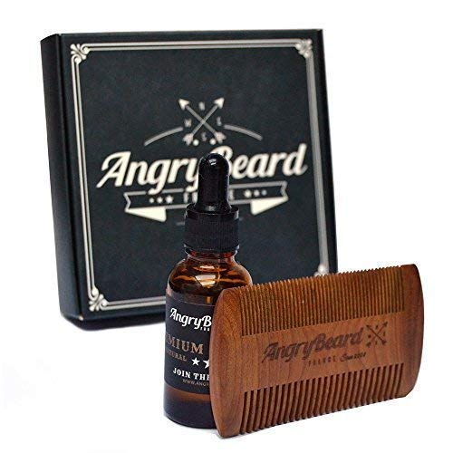 Kit d'huile pour barbe - Huile de croissance pour barbe avec kit peigne pour barbe - Peigne à barbe 100% bois de santal