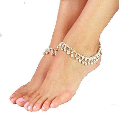 Uteruik indische traditionelle Bauchtanz Ghungroo Fußkette mit Jingling Bells Silber getönten