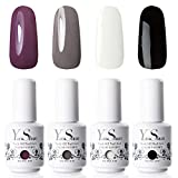 Vernis Semi Permanent - Y&S 8ml X 4 Couleurs UV LED Vernis à Ongles Lot Vernis Gel Soak Off Débutant Kit Blanc et Noir